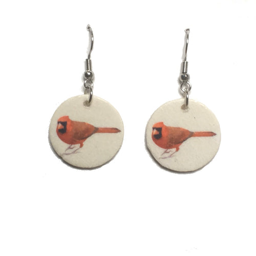 Red Cardinal, Bird Image, White Background, Nature Jewelry #E714