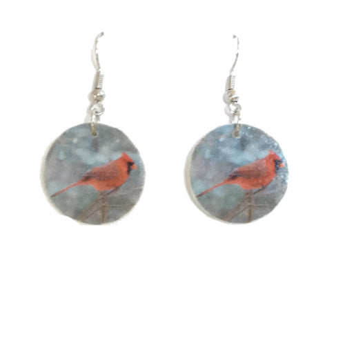 Red Cardinal, Bird Image on Wood Disk Earrings #E692