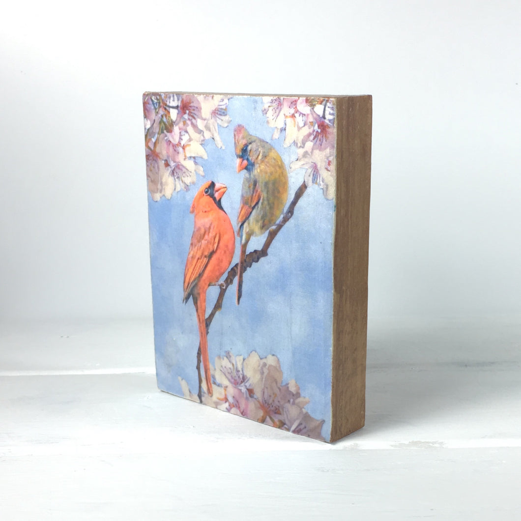 Cardinals on a Branch on Wood, Shelf and Desk Decor - HD2