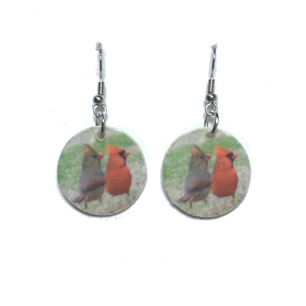 Cardinal Wedding, Male and Female Cardinals on Wood Disk Earrings #E726