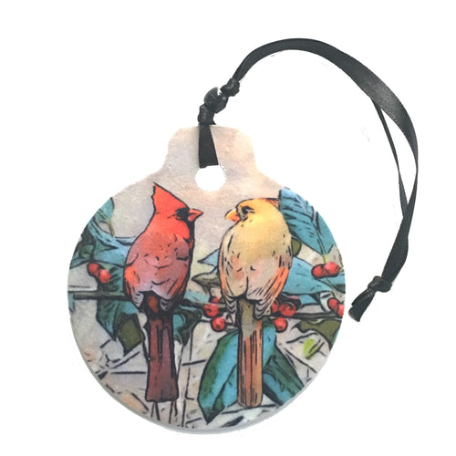 Cardinals on a Berry Branch - Christmas Ornament HD1