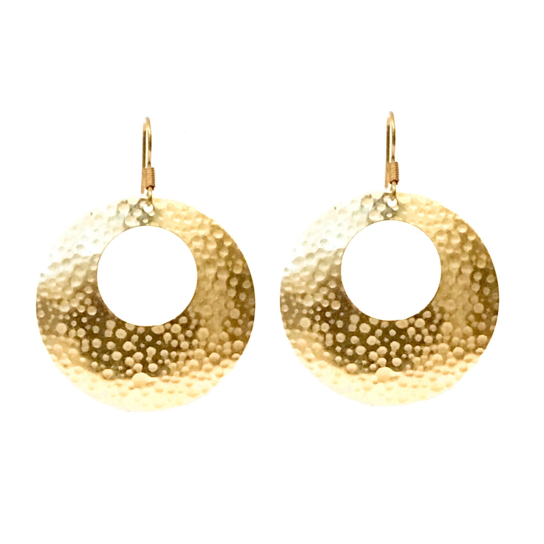 Brass Disk with Circle Cutout Earrings #E558