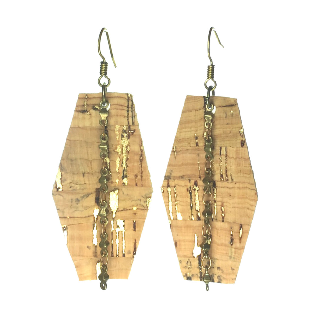 Cork Hexagon with Chain Earring #E566