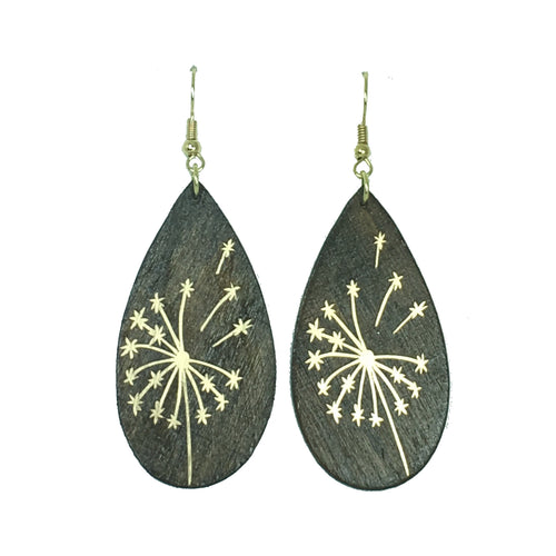 Metallic Dandelion on Wood, Handmade Earring #E756
