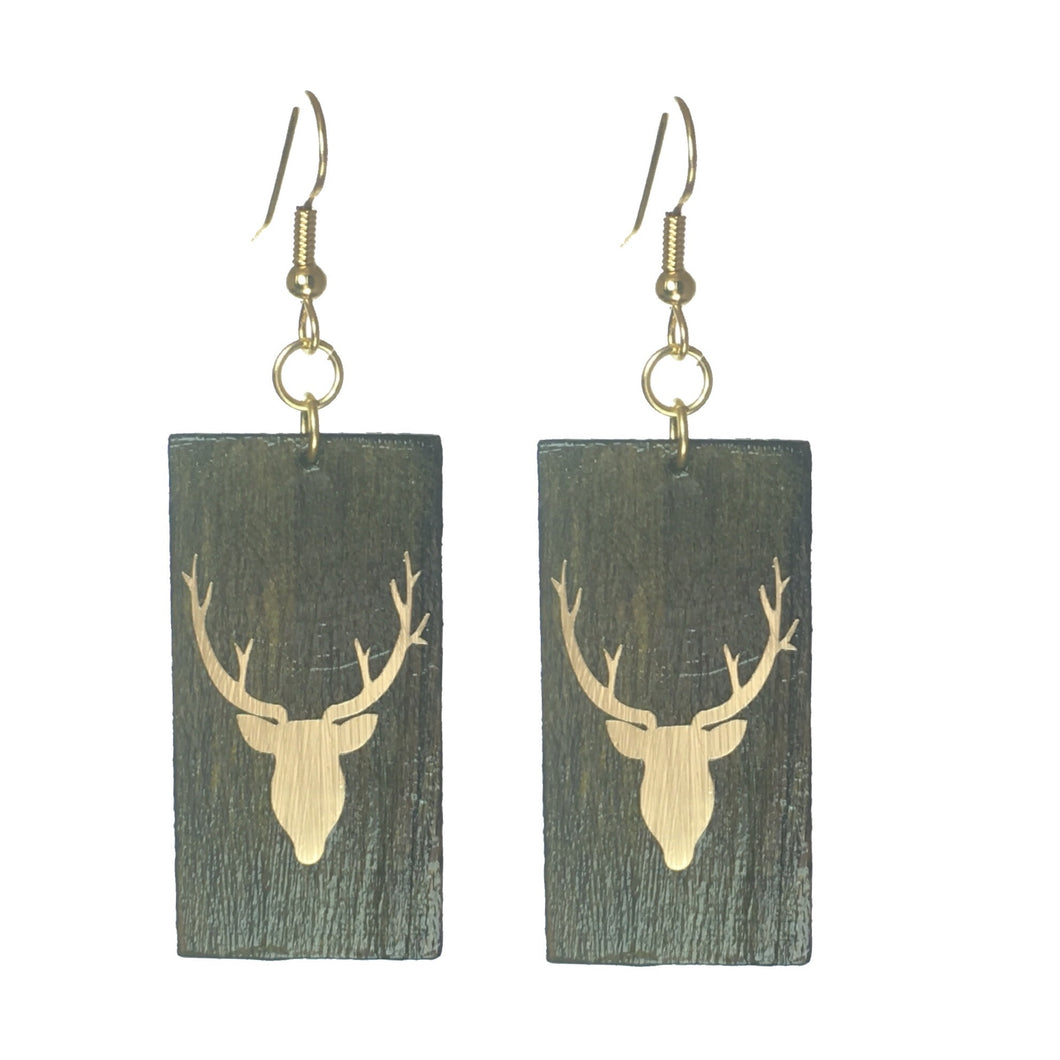 Geometric Wood Jewelry - Brown with Deer Head Earring #E561