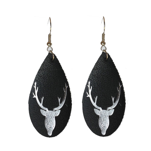 Black Faux Leather with Deer #E595