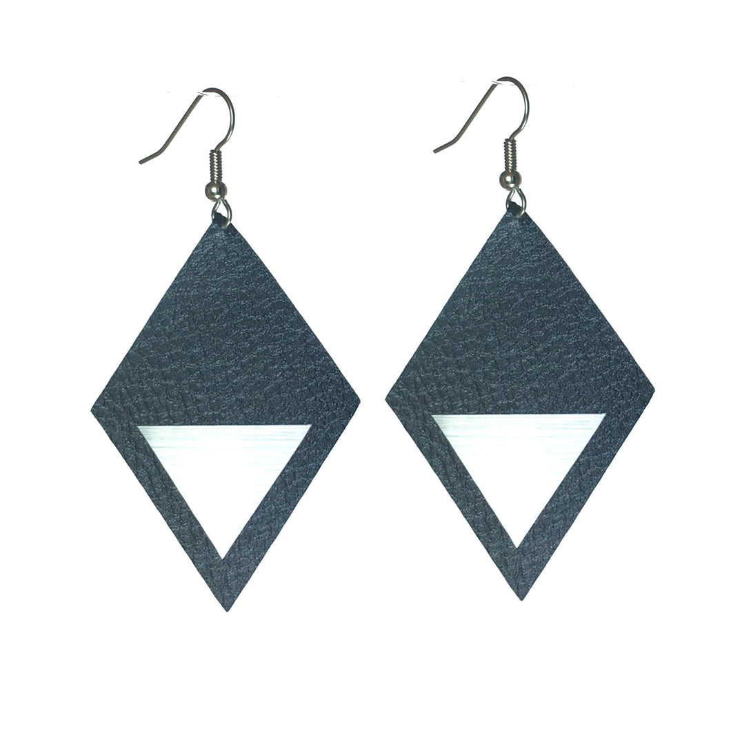 Faux Leather Diamond-Shape, Silver or Gold Triangle #E578