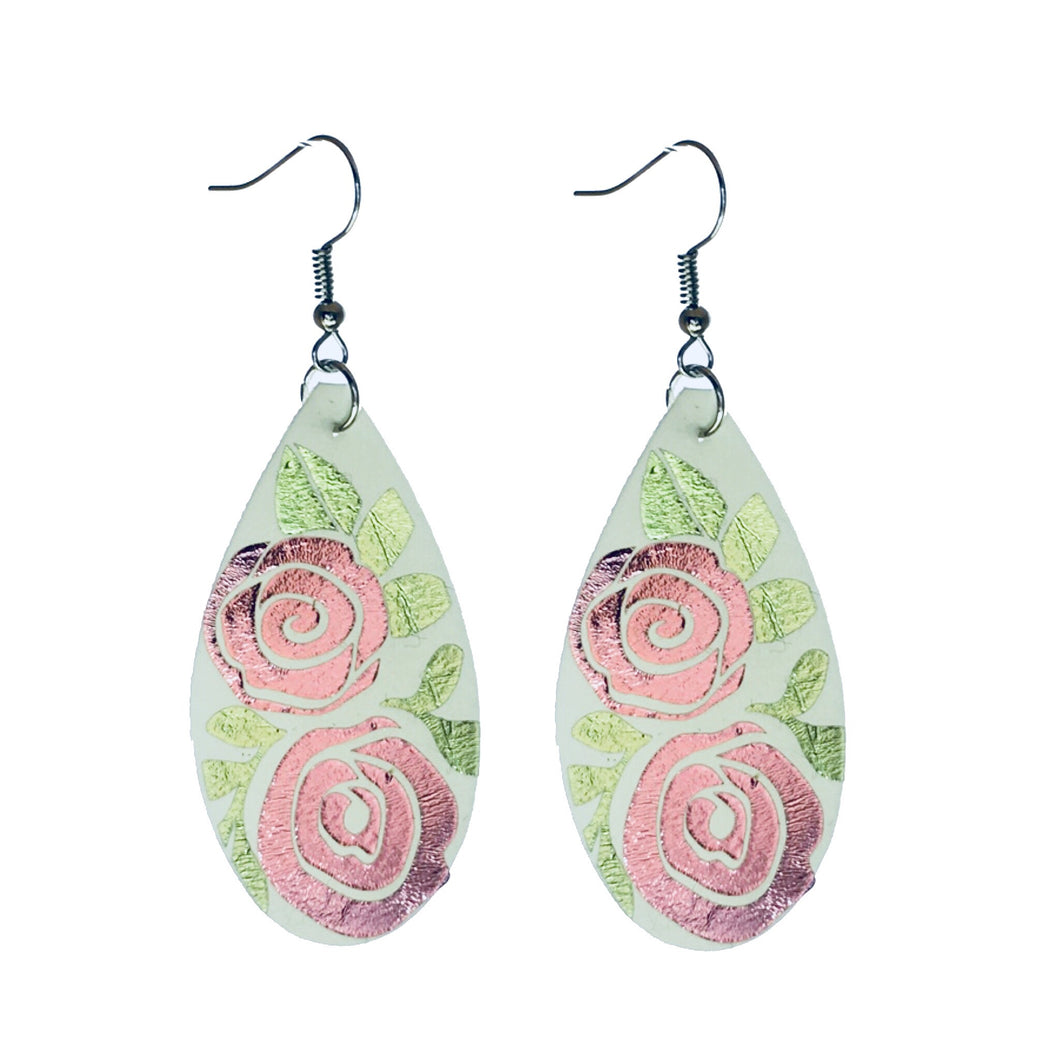 Two Pink Roses on Faux Leather E596