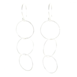 Sterling Silver Three Circle Earrings #E289