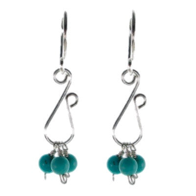 Sculpted Wire Earrings with Turquoise Beads #E425