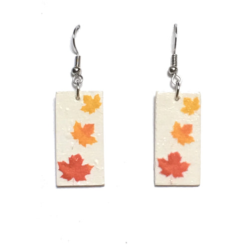 Fall Leaves on Wood, Decoupage Earrings #E673