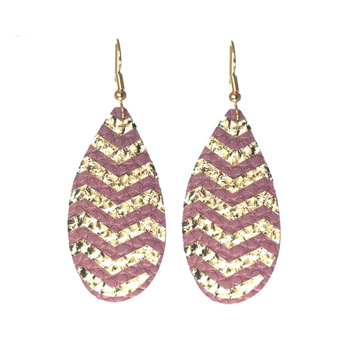 Faux Leather Teardrop, Silver or Gold Chevron #E574