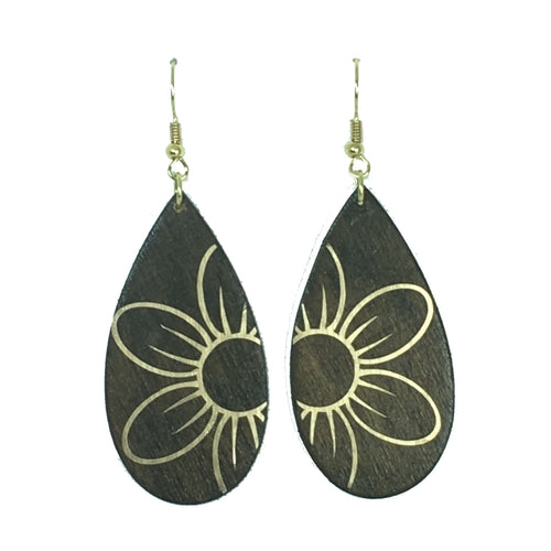 Metallic Flower on Wood, Handmade Earring #E758