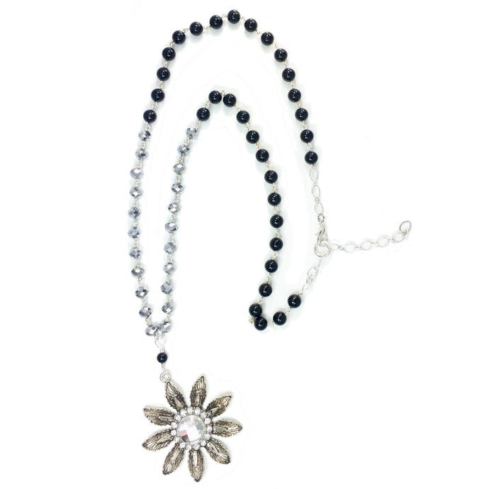 Black and Silver Beaded Necklace with Flower, Silver Tone Pendant #N143