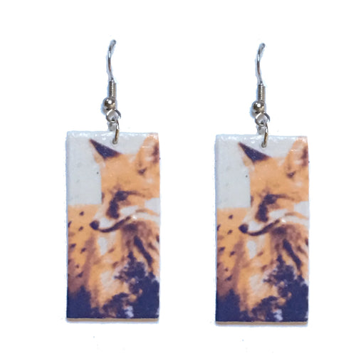 Fox Earrings - Image on Wood - Decoupage Earrings E658