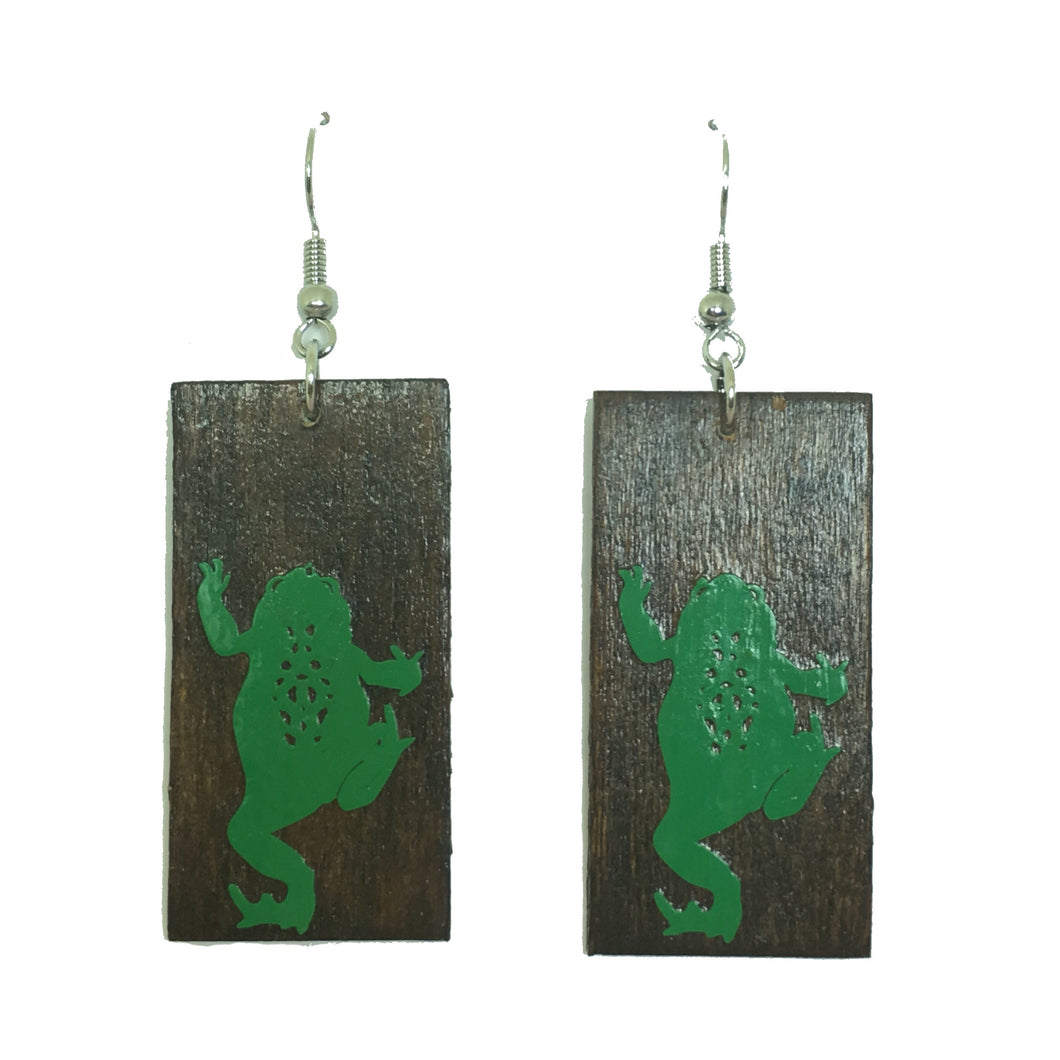 Green Vinyl Frog Earring on Dark Brown Wood - E646