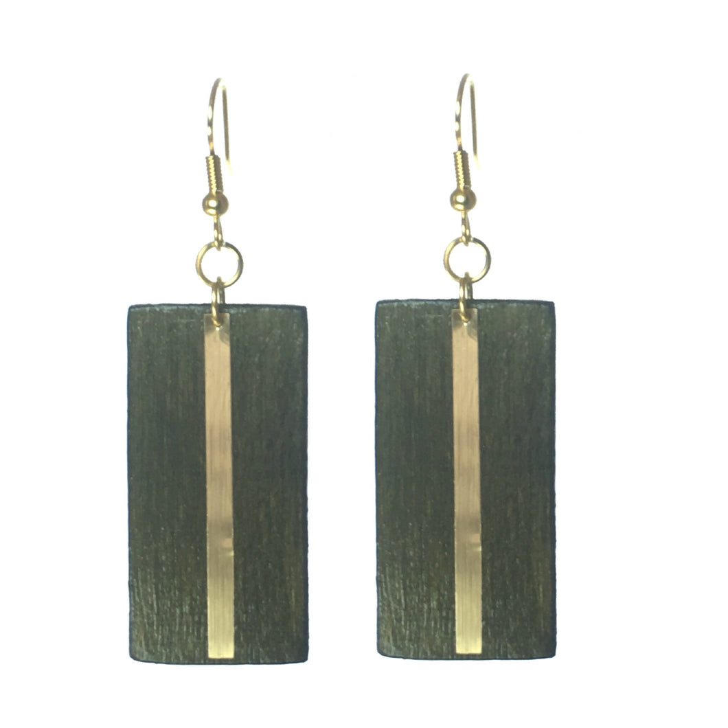 Geometric Wood Jewelry - Brown with Gold Stripe Earring #E562