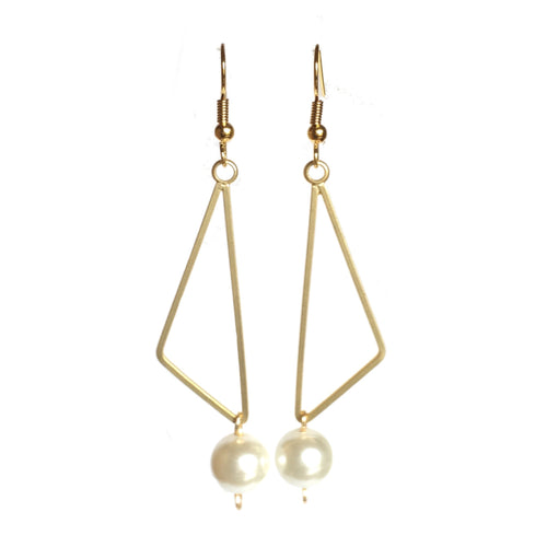 Triangular Earrings with White Glass Pearl #E506