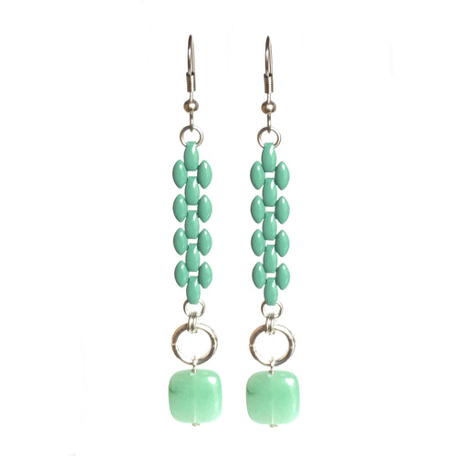 Green Chain Earrings with Green Aventurine #E508