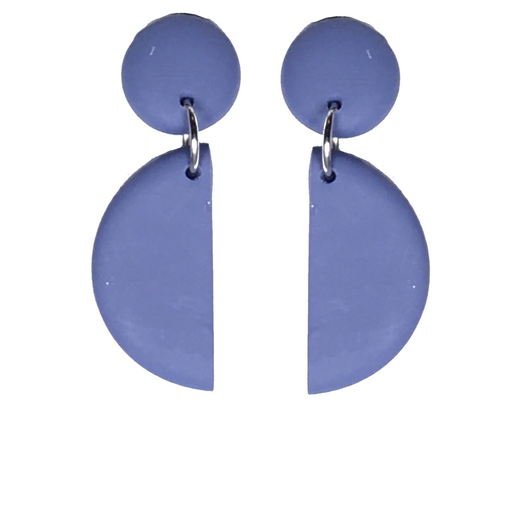 Polymer Clay Stud and Half-Moon, Statement Earring #E633
