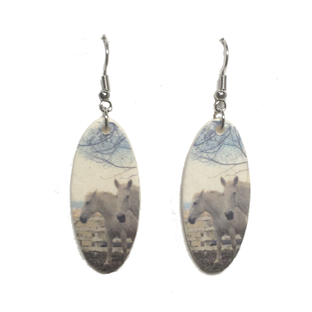 Two Horses and Fence, Image on Wood, Equestrian Jewelry #E720