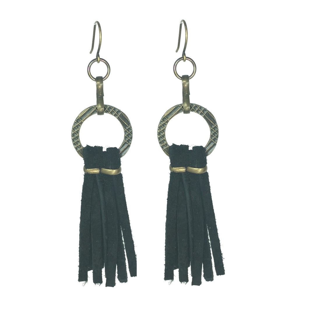 Leather Tassel Earring - Boho Chic!  #E538