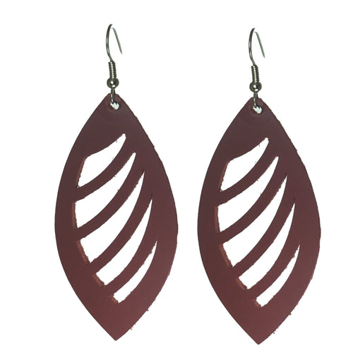 Genuine Leather Earring with Cutouts #E564