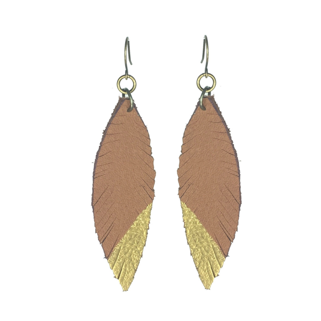 Leather, Feather Earrings - Brown with Gold Accent #E529
