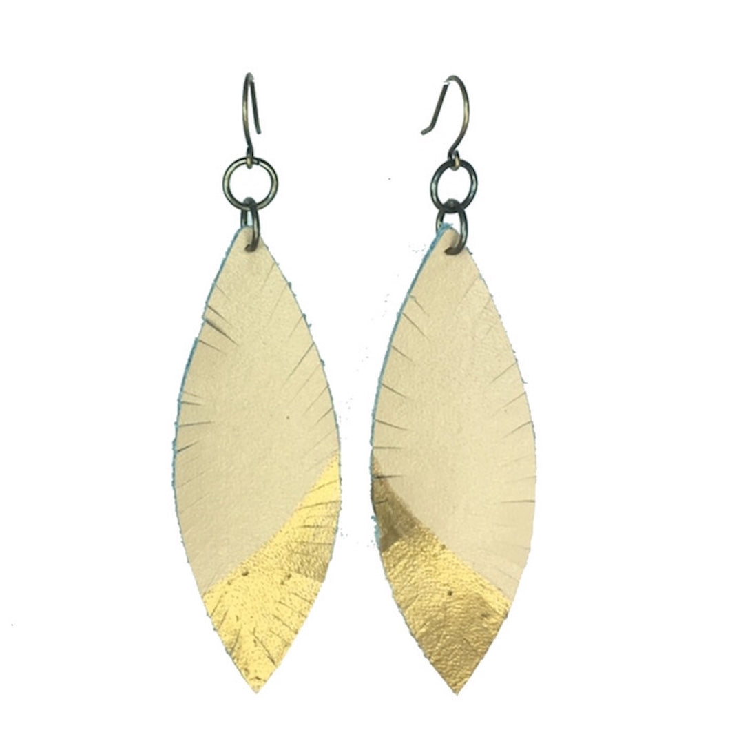 Leather, Feather Earrings - Tan with Gold Accent #E530