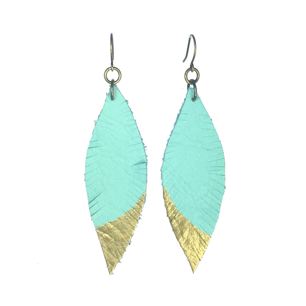 Leather, Feather Earrings - Turquoise with Gold Accent #E528