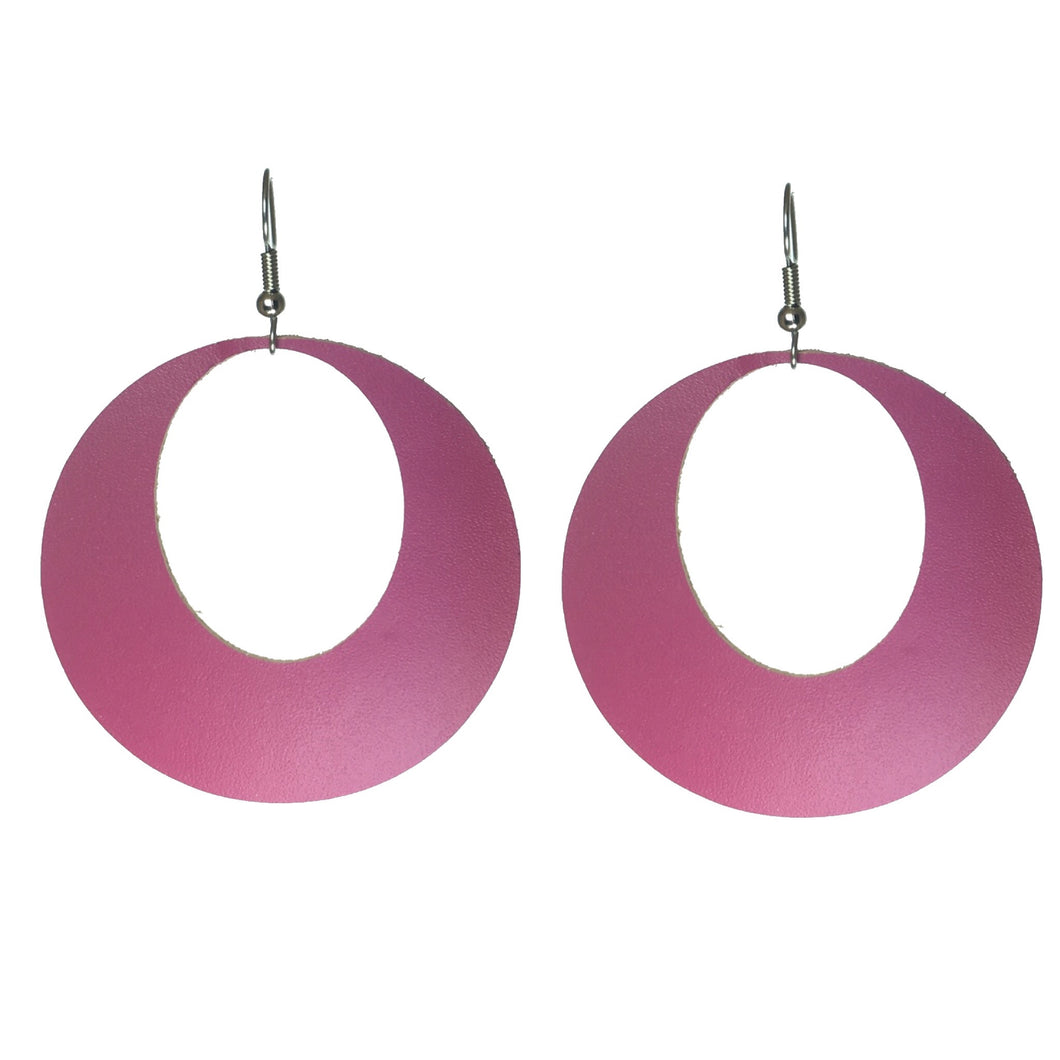 Pink, Genuine Leather Hoop #E575
