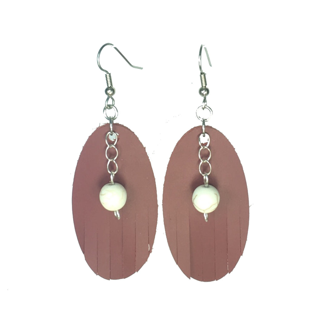 Maroon Leather, Fringed Oval with White Howlite Bead #E534