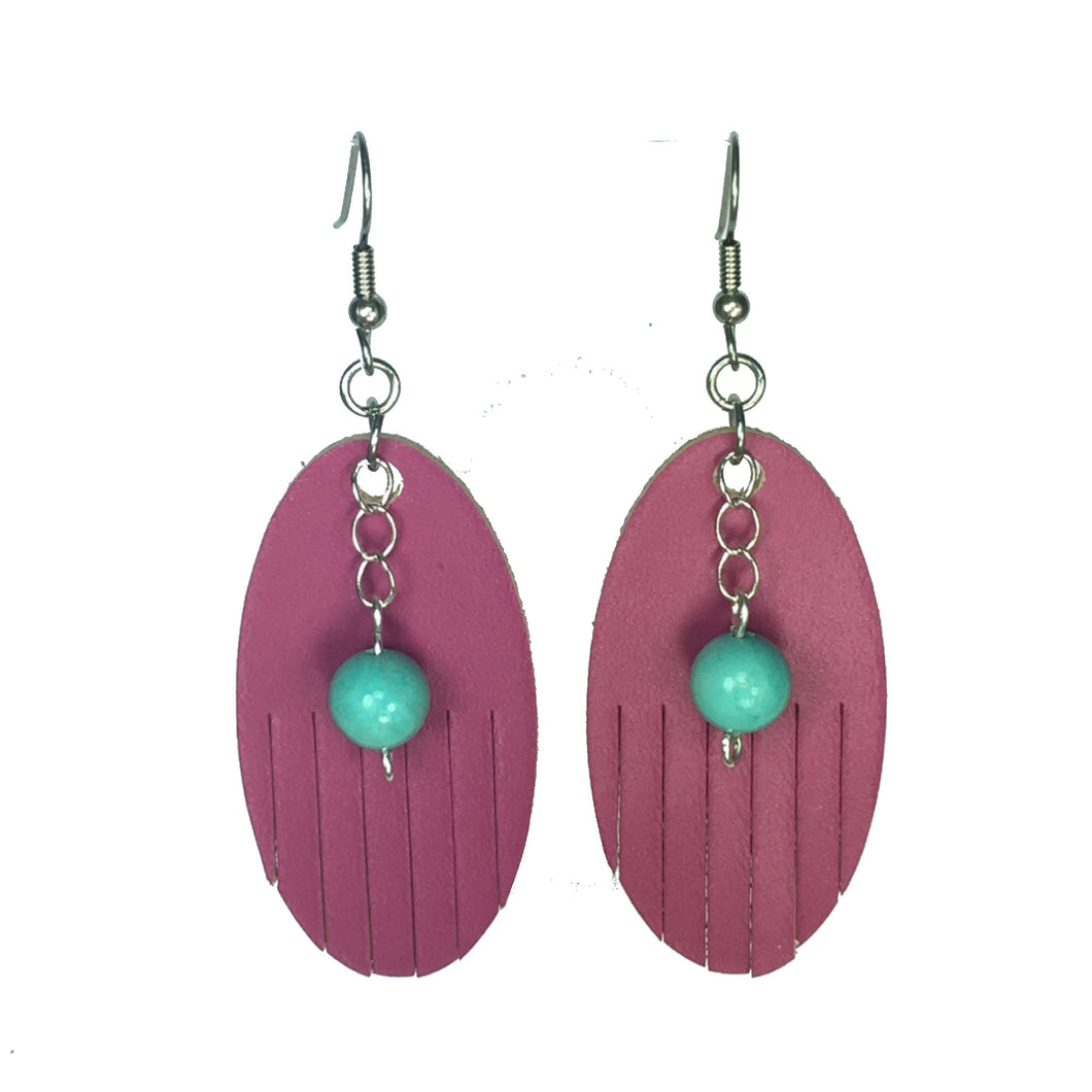 Hot Pink, Leather Oval with Fringe, Turquoise Bead #E535