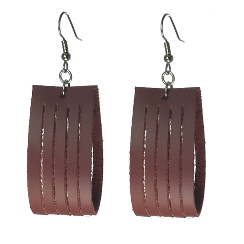 Maroon, Genuine Leather Hoop with Slits #E563