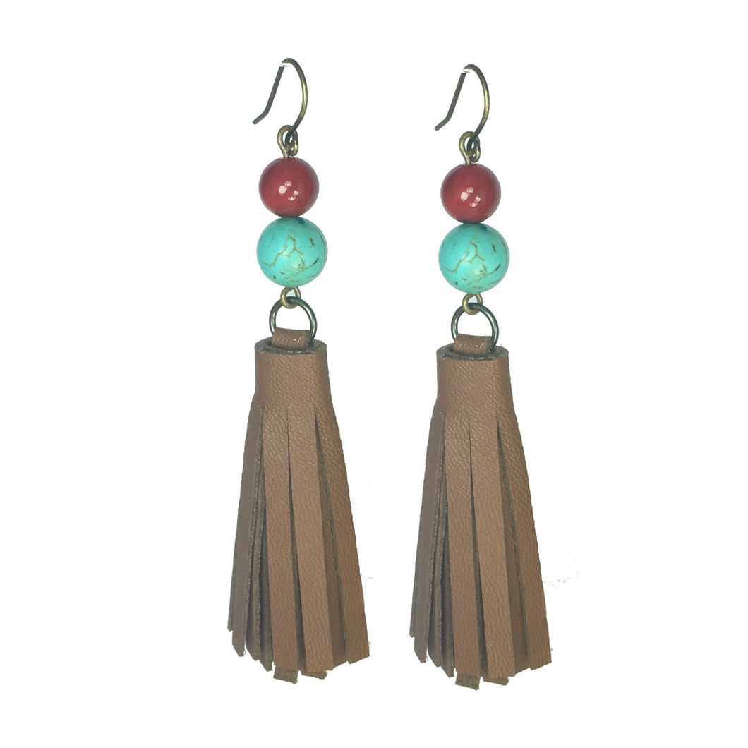 Handmade Leather Tassel, Turquoise and Coral Beads #E537