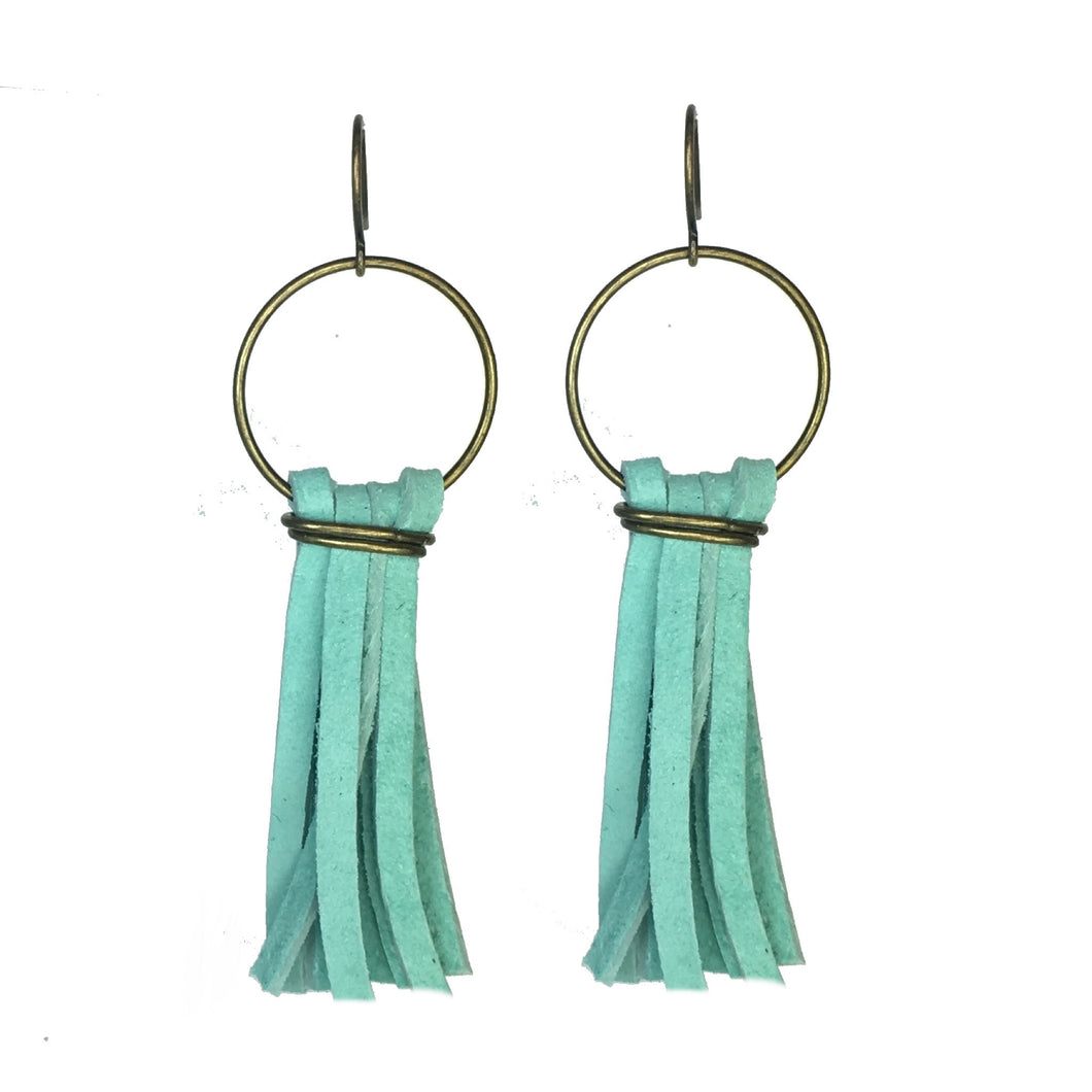 Light Turquoise, Suede Tassel Earrings #E545