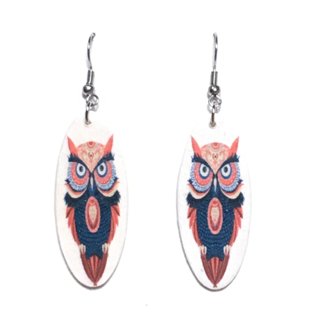 Orange and Blue Owl Drawing on Oval Wood, Decoupage Earrings #E665