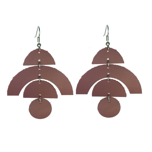 Maroon Geometric Leather, Earring with Half Moons, Arches and Circles #E541