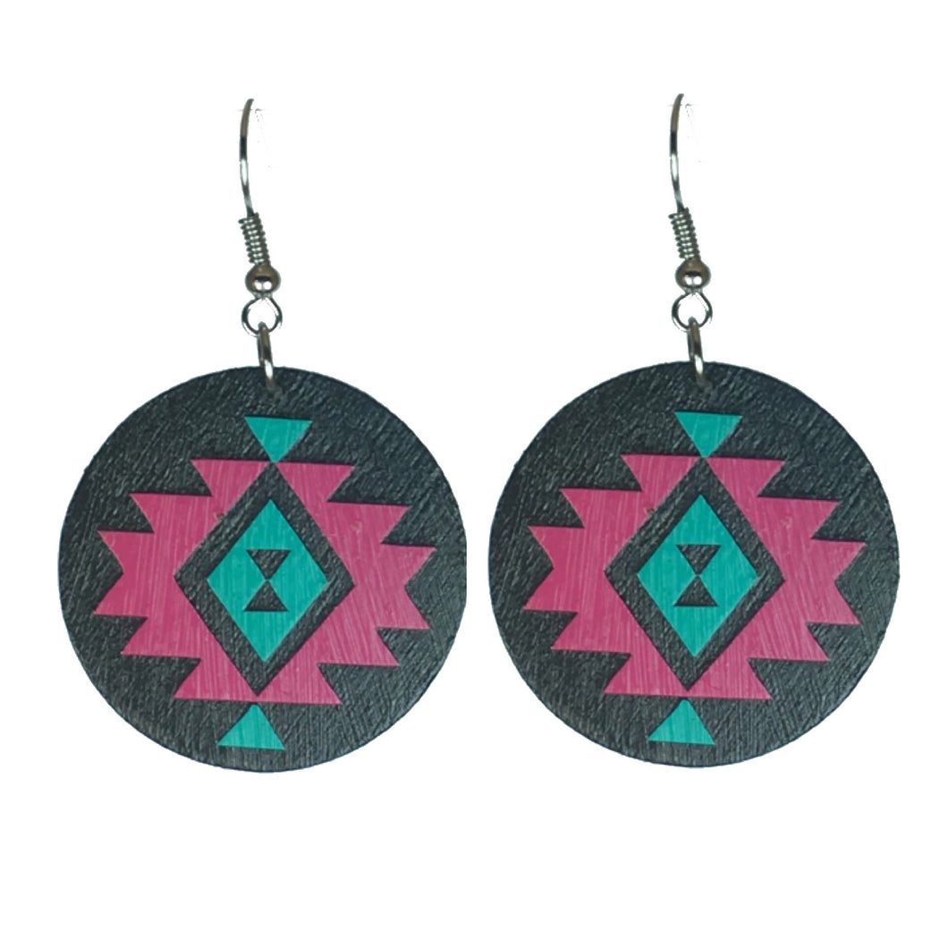 Hot Pink and Aqua Tribal Pattern on Wood Earring #E607