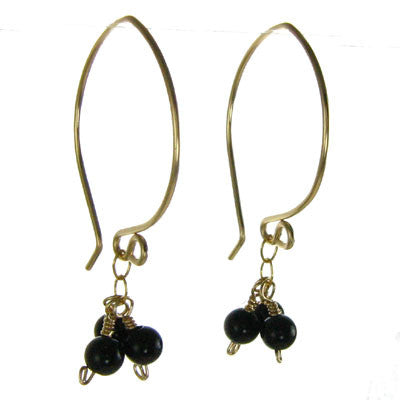 Onyx Beads on Chain, Large Earwire #E368