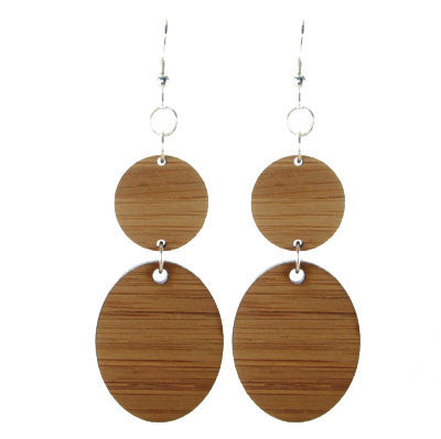 Wood, Disk and Oval Earring #E476
