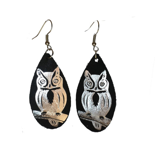 Black Faux Leather with Owl #E590