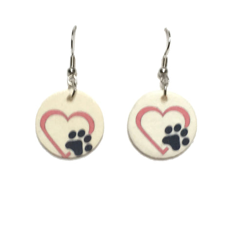 Paw Print with Pink Heart Earrings - Pet Jewelry E699