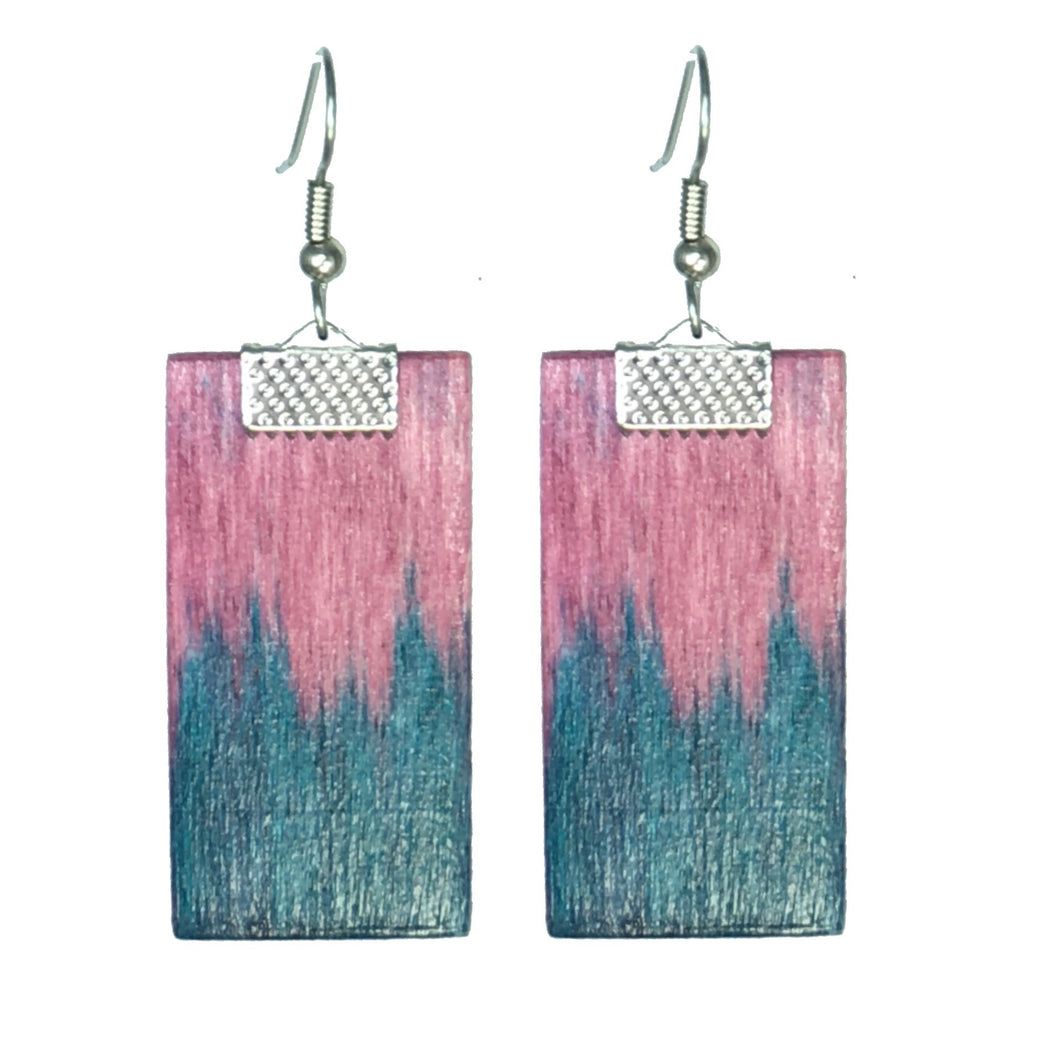 Geometric Wood Jewelry - Pink and Aqua Earring #E553