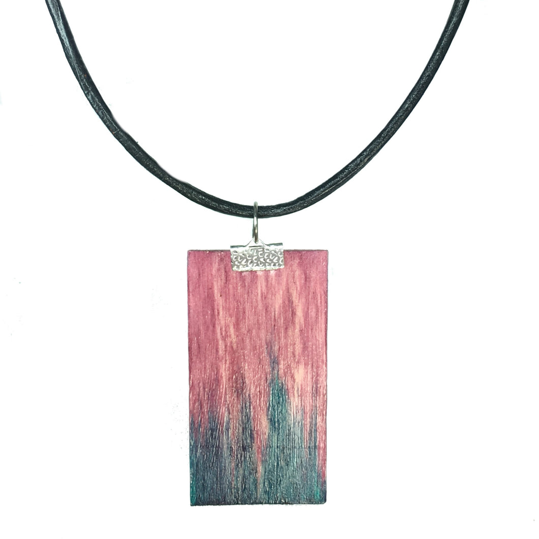 Geometric Wood Jewelry - Aqua and Pink Necklace - #N154