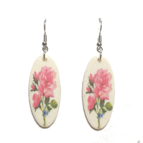 Pink Flowers, Photo Decoupage, Nature, Floral Earrings #E717