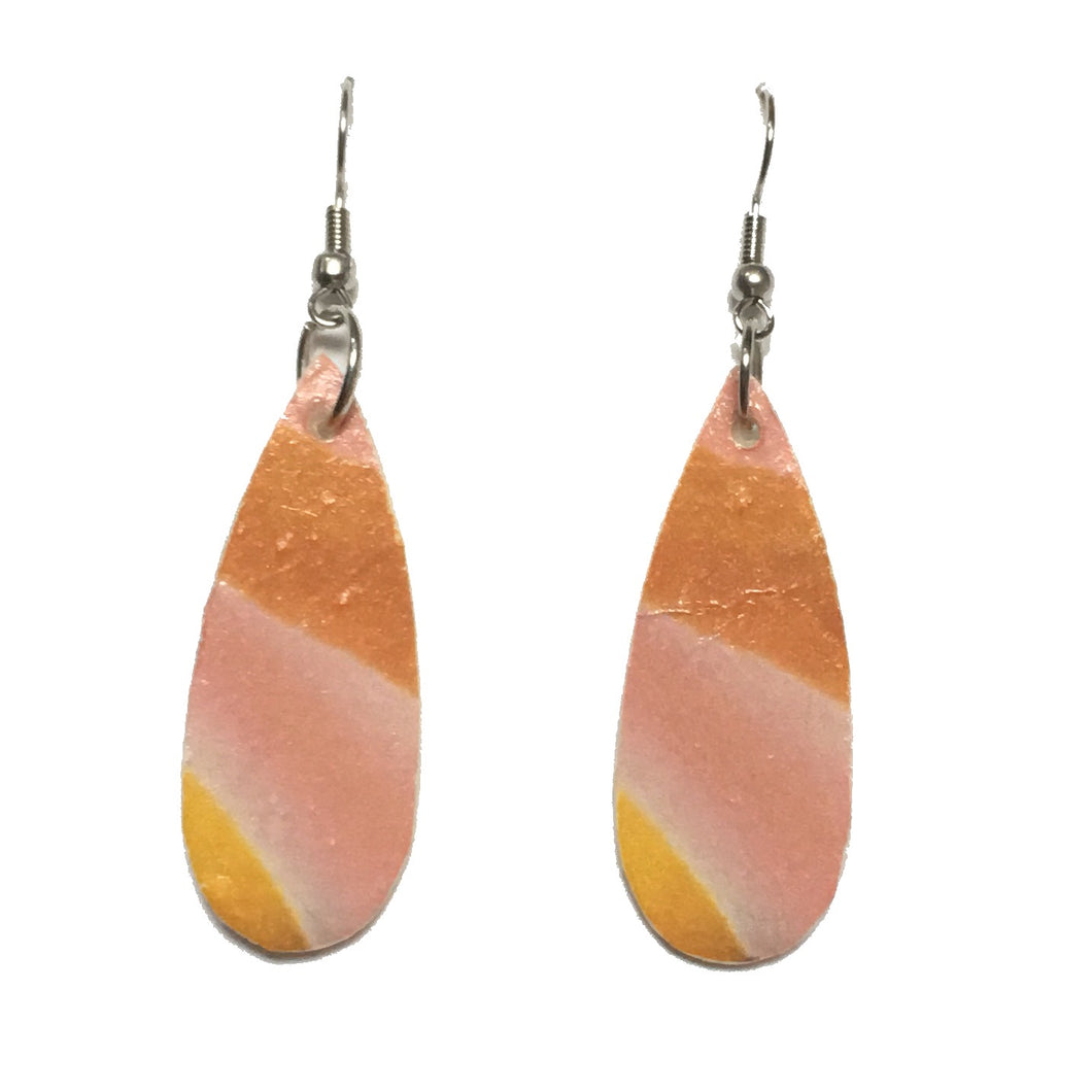 Pink and Orange Graphic on Wood Earrings #E706