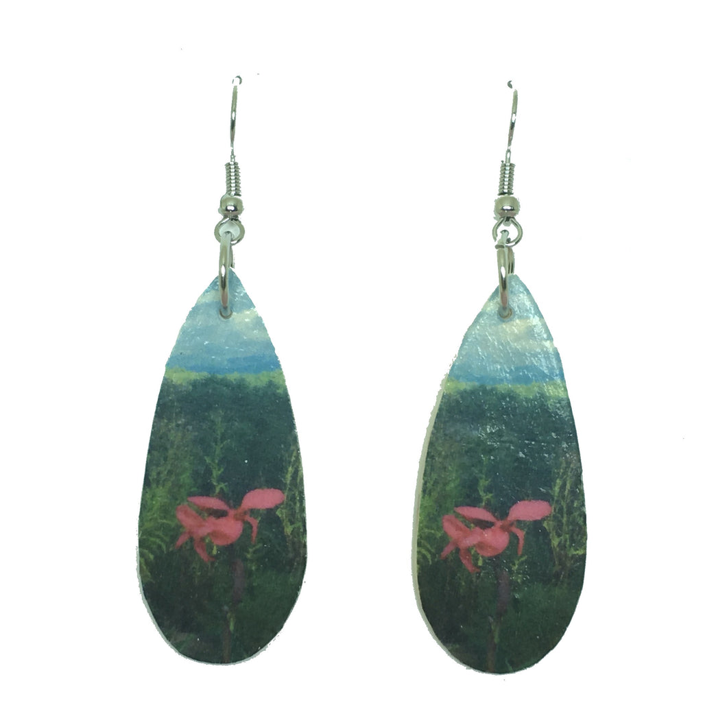 Smoky Mountain Landscape Earring - Pink Flower - Teardrop Wood Decoupage E644