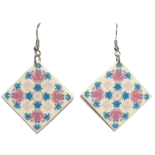 Pink and Teal, Wood Tile Earring #E753