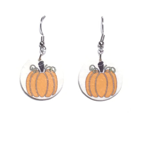 Pumpkin on Wood Disk Earring- Rustic, Fall Jewelry E674
